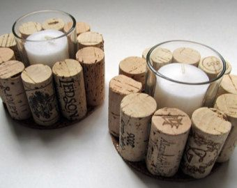 Wine Cork Votive Holders with Purple by LizzieJoeDesigns on Etsy