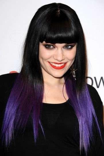 Estilos tendencia Dip Dye: Jessie J puntas moradas