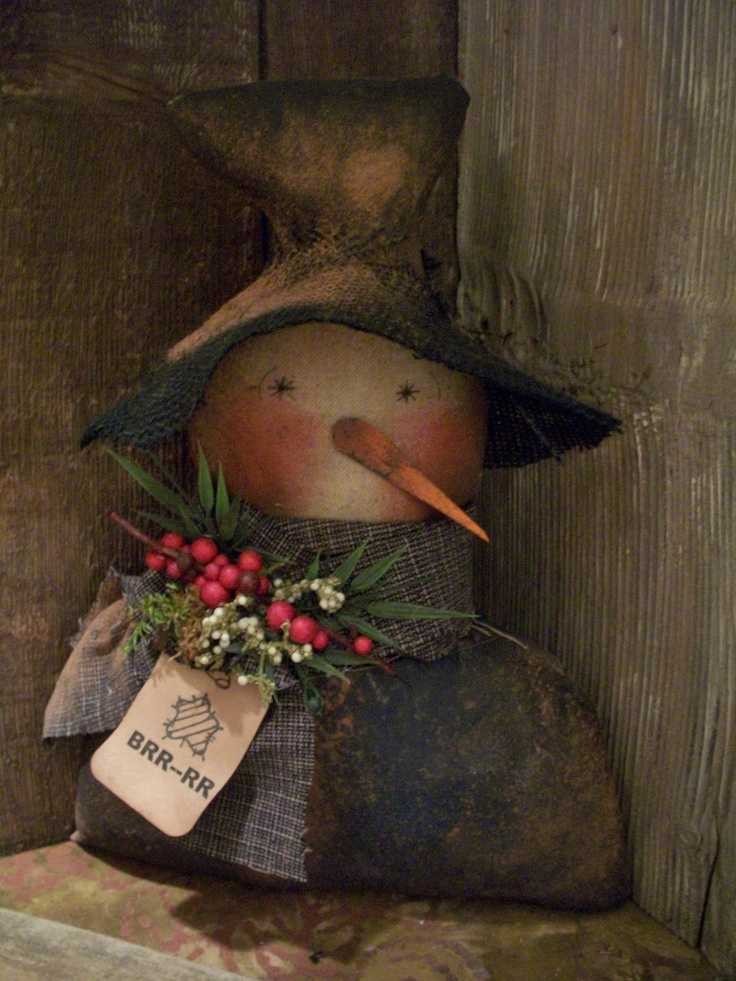 ★ Primitive 13 x 9 in Dark Blue Snowman Shelf Sitter Doll Berries Pine ★