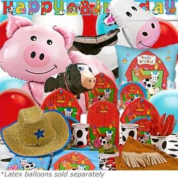 Barnyard Ultimate Birthday Box. Cute!  Big animal balloons and barn shaped plates.