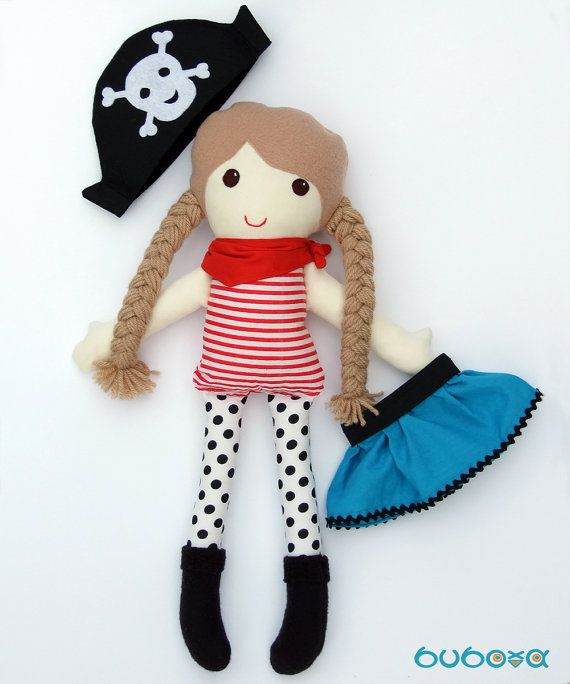 Pirate Girl Fabric Doll With Removable Hat and Skirt by buboxa