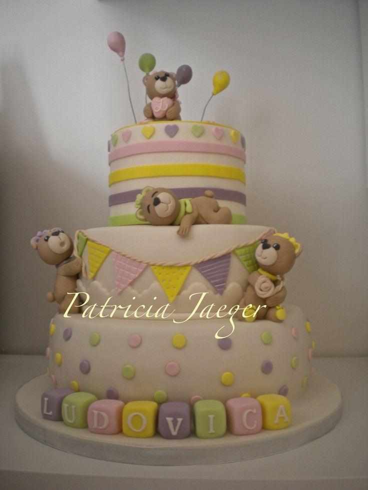 Torta orsetti cuori e pois per il primo compleanno di Ludovica