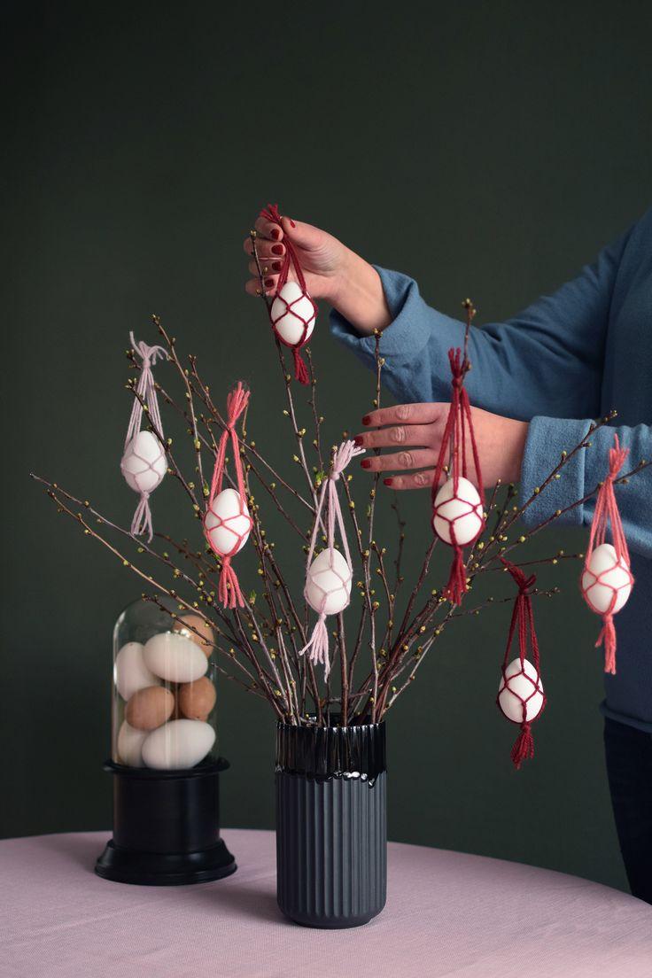 Miniamplar i makramé. Perfekt för ägg till påskriset - Mini hangers, macrame hangers, easter, easter eggs, easter tree, påskris, påskägg, påskpyssel @helenalyth.se