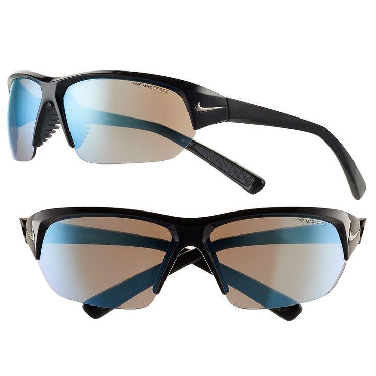 Men's Nike Skylon Ace Semirimless Wrap Sunglasses, Black