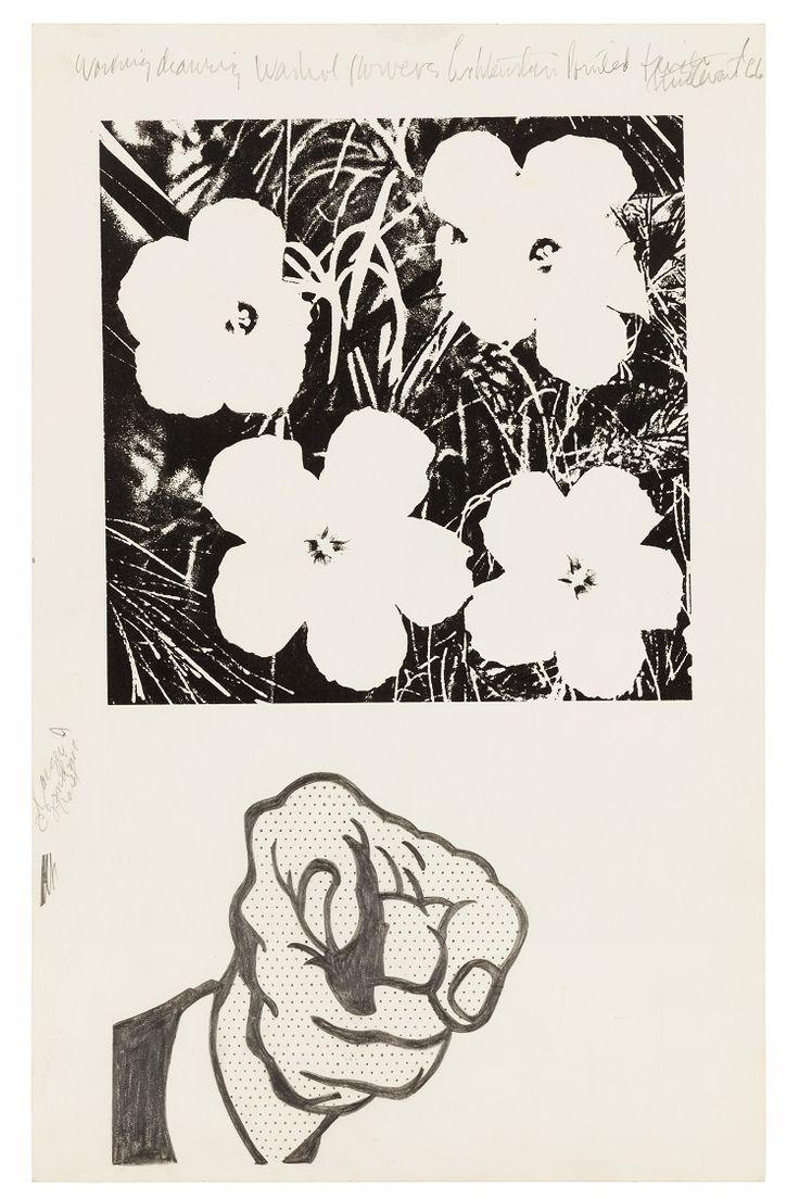 Elaine Sturtevant, Working Drawing Warhol Flowers Lichtenstein Pointed Finger, 1966,  Siebdruckfarbe und Graphitstift auf Karton © Collection Paul Maenz, Berlin #Sturtevant #Appropriationart #contemporary #art #artist #Lichtenstein #Popart #Warhol #Rauschenberg #Johns #Conceptart #Readymade #Duchamp #postmodern