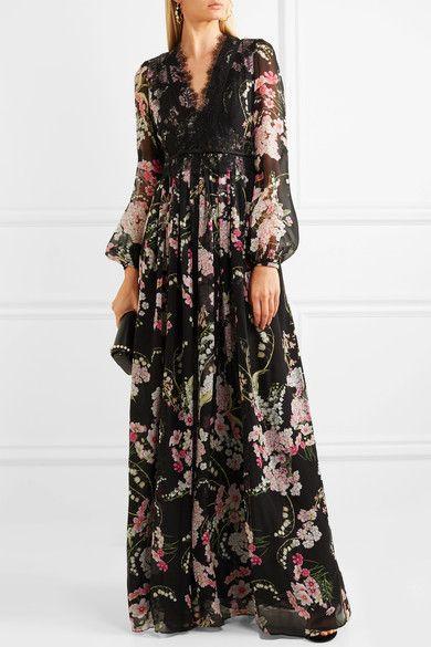 446f56c0bc1 Giambattista Valli - Lace-trimmed Floral-print Silk-chiffon Maxi Dress -  Black