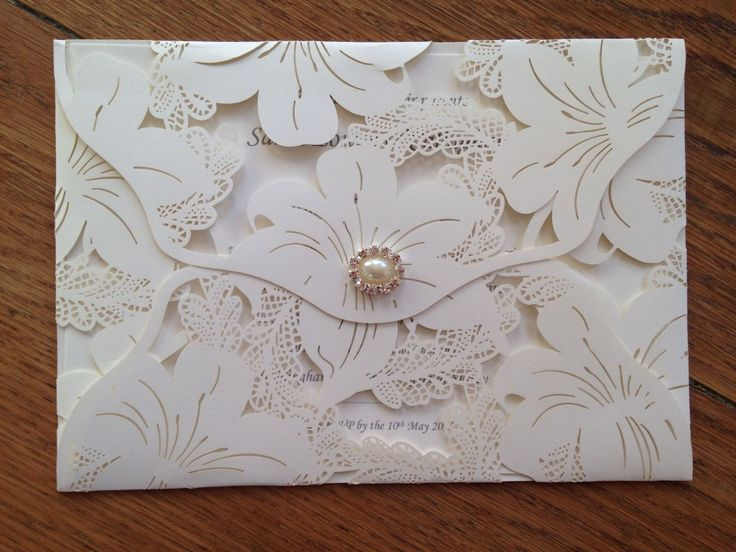 Personalised Wedding Invitations Wallet Envelope Vintage Style Lace Laser Cut | eBay