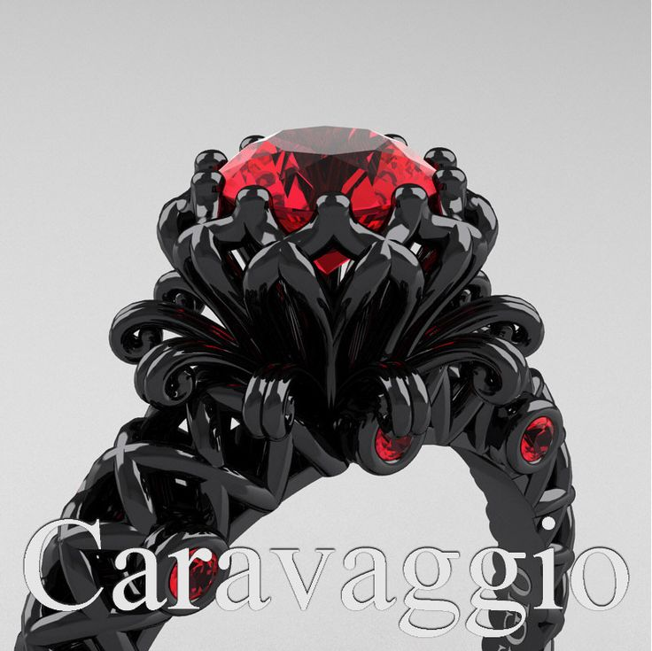 Caravaggio Lace 14K Black Gold 1.0 Ct Ruby Engagement Ring R634-14KBGR | Caravaggio Jewelry