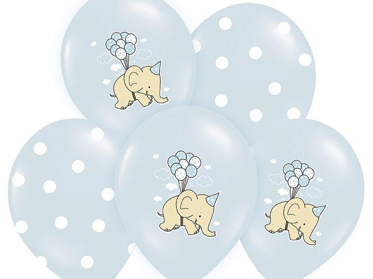 """Balony urodzinowe dla chłopca 14"""" Słoniki, 5 szt"""