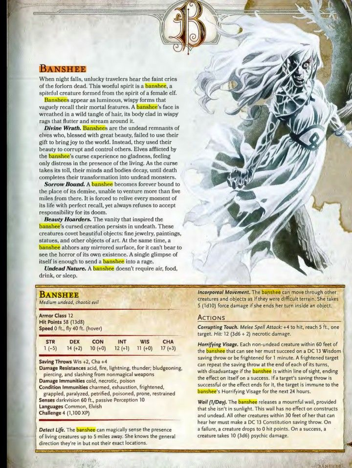 Banshee 5e | LotW | Dragon rpg, Dnd monsters, Dungeons, dragons