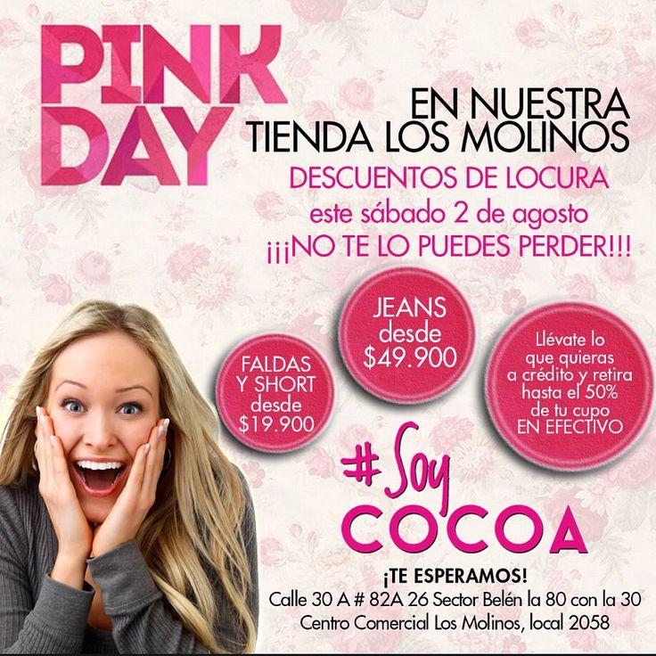 No te pierdas este sábado nuestro #PinkDay #DescuentosDeLocura #Ofertas #YMuchoMas #SoyCompradora #SoyPractica #SoyCocoa