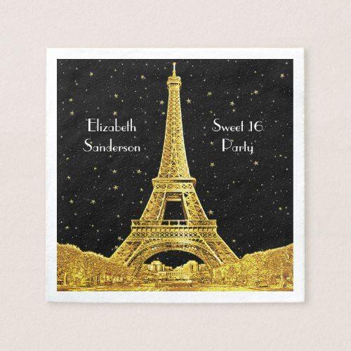 Gold Paris Skyline #2 Black Starry Sweet 16 SQ Paper Napkin