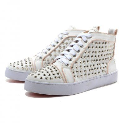 Cheap Christian Louboutin Shoes Mans Flat Leather Sneakers White/Pink  Outlet Online.