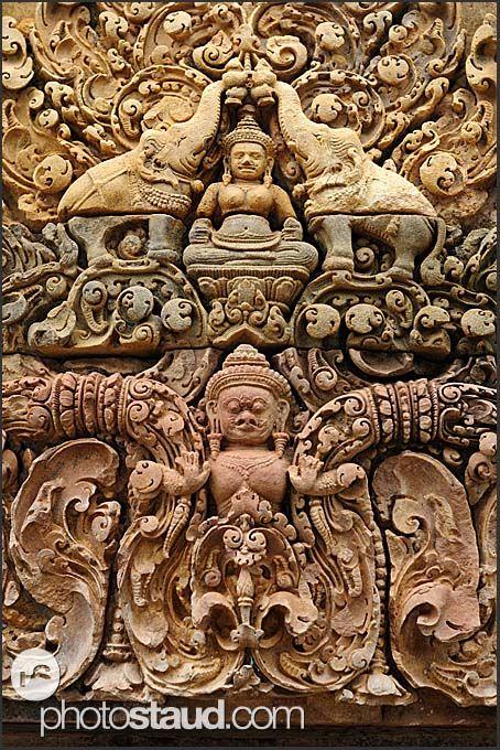 Elaborate stone carvings, Banteay Srei Temple
