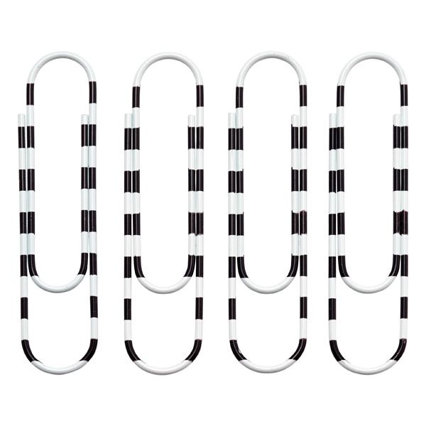 X-Large Stripe Paper Clips Black/White Pkg/8