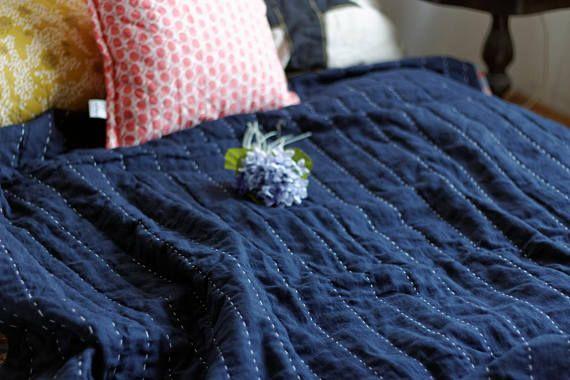 Linen Hand-quilted Quilt Dark blue linen bedding Handmade