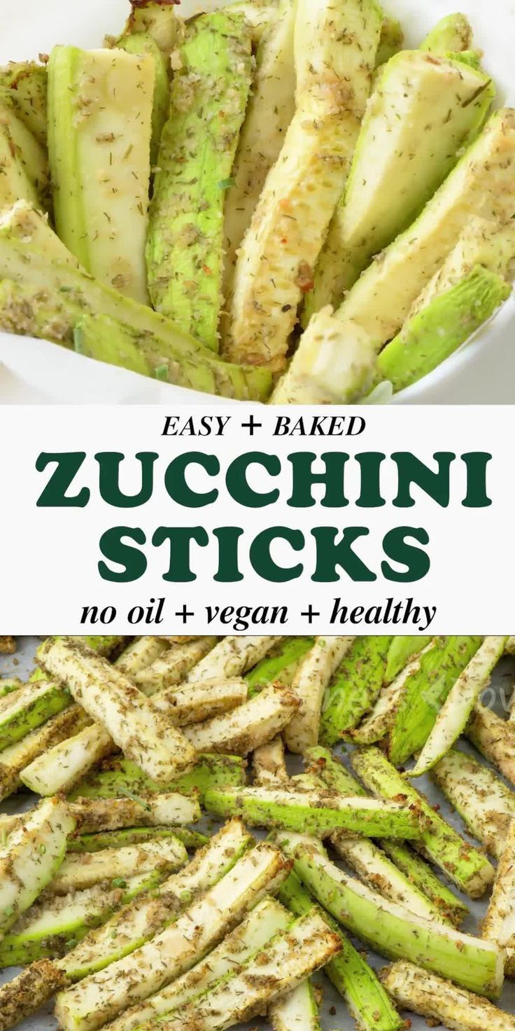 Easy Vegan No Oil Baked Zucchini Sticks Crispy Zucchini Sticks Seasoned With Onion G In 2020 Plant Based Recipes Easy Plant Based Recipes Dinner Vegan Recipes Healthy