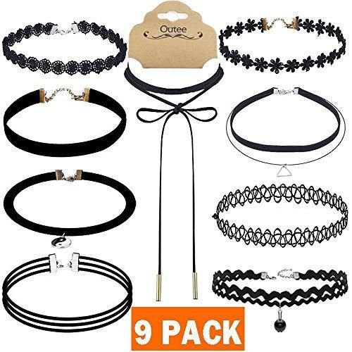 Choker Set, Outee 15 PCS Black Girls Women Choker Necklace Velvet Charm Choker Black Bead Necklaces for Women