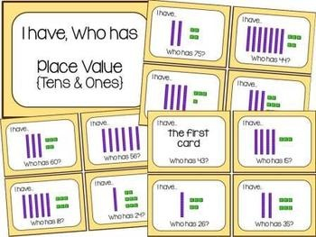 """4 """"I Have, Who Has"""" games for primary math - place value, addition, number words, 1 more/1 less"""