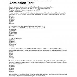 Solved reasoning Questions for AFCAT Air Force Common Admission Test Solved reasoning Questions for AFCAT Air Force Common Admission Test Air Force Common A. http://slidehot.com/resources/afcat-reasoning-i.59267/