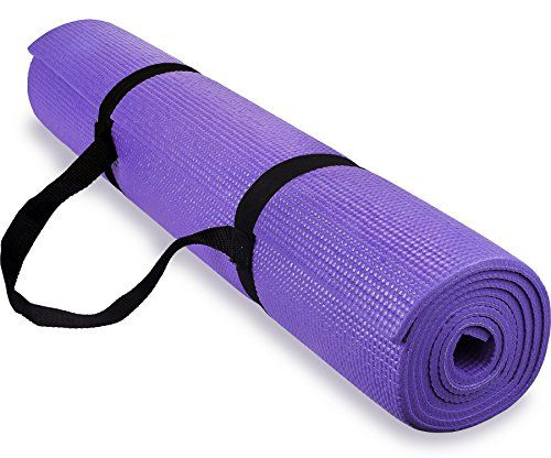 Spoga 1/4-Inch Anti-Slip Exercise Yoga Mat with Carrying Strap, Dark Purple