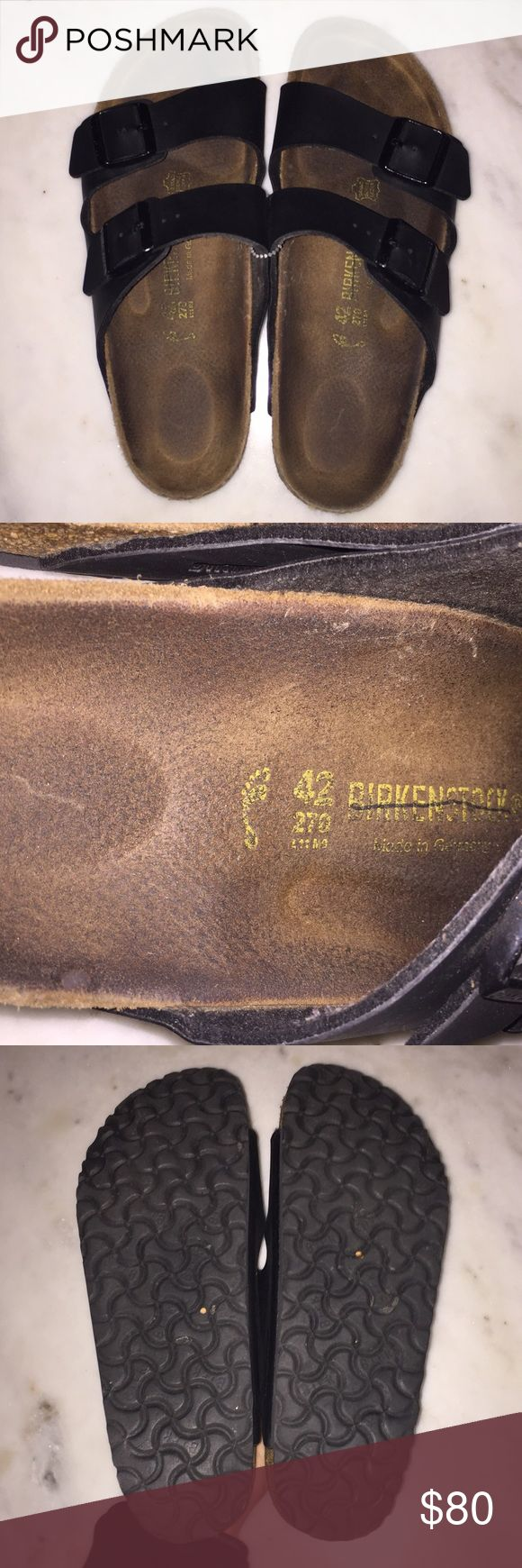 NWOT Birkenstocks NWOT Birkenstocks, black leather-like, only tried on but never worn as shown in pictures of soles, Ladies size 11 Men size 9 Birkenstock Shoes Sandals & Flip-Flops