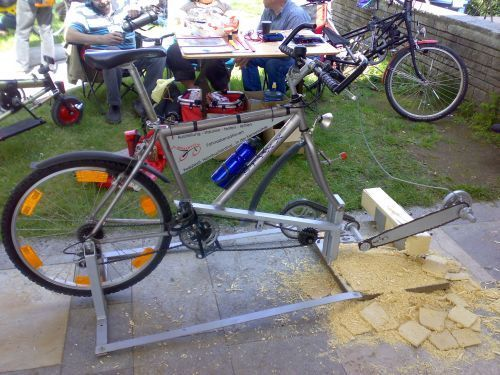 Pedal-powered chain saw - a Bike Culture article on Cyclorama