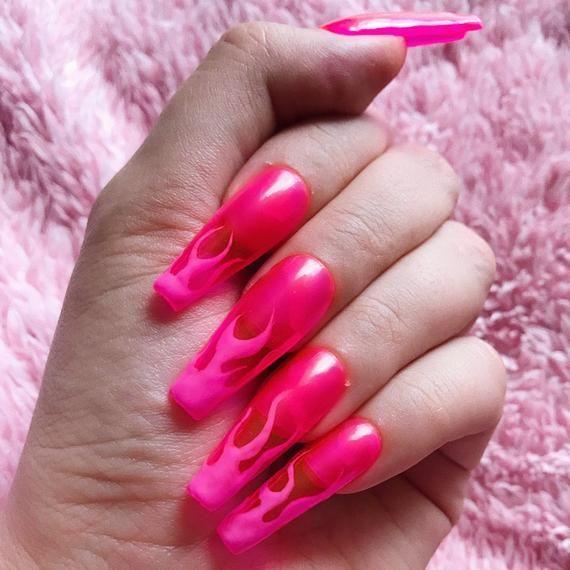 Pink Flame Jelly Nails Press On Nails Transparent Glass Nails Flaming Hot Nails Pink Nails Ballerina Coffin Nails Stiletto Nails Glass Nails Acrylic Nails Coffin Pink Hot Nails