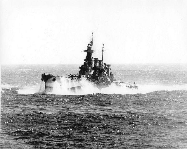 USS North Carolina BB-55 in heavy seas December 1944
