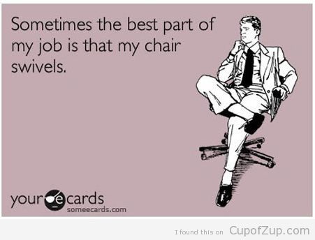 I really do love my job, but the swiveling/rolling seat is the
