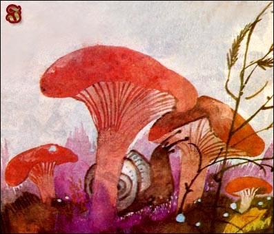 Wierszyk Ewy Szelburg-Zarembiny, il. Z. Rychlicki.  Wrzesień     A ten wrzesień  we wrzosie  szuka rydzów  po rosie.    A gdy rosa  już zginie,  rwie orzechy  w leszczynie.