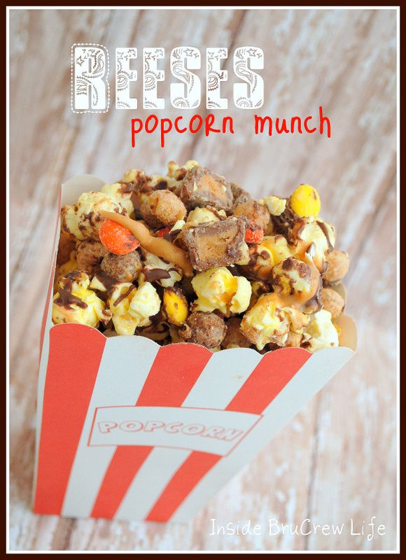 Reeses Popcorn Munch from http://www.insidebrucrewlife.com - chocolate covered popcorn with Reeses PB cups and pieces #reeses #popcorn