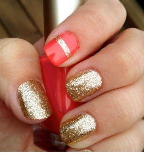 8 Best Glitter Nail Art Designs : Red and Golden Glitter Nail Art: