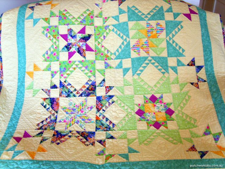 Feathered Star Sampler Quilt Stepping up to the patchwork challenge.