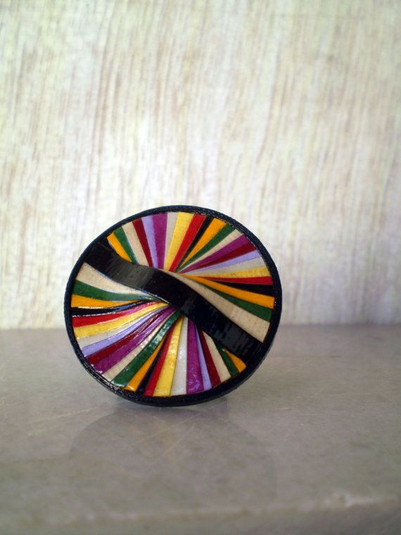Multi Color Round Paper RIng Paper Jewelry Eco by LeftysHandcrafts, €14.00