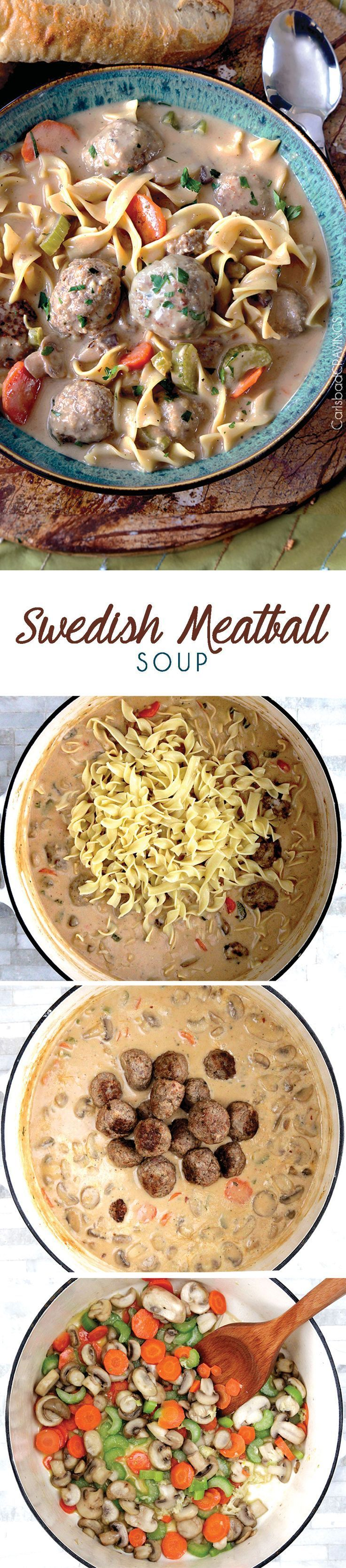 Swedish Meatball Soup Recipe | Tender, moist meatballs, hearty noodles, carrots, mushrooms and celery all swimming in luscious creamy brown gravy broth swirled with sour cream.
