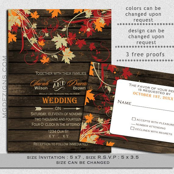 DIY Printable Rustic Barnwood Fall leaves, Rustic fall wedding invitations and rsvp template on Etsy, $25.00