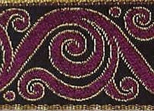 Jacquard Trim. Metallic Gold, Burgundy. Celtic Scrolls