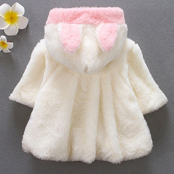 Cute Baby Infant Girls Fur Winter Warm Coat Cloak Jacket Thick Hooded Clothes
