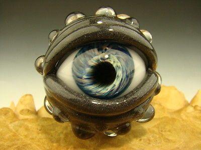 Glass Art Eyeball Marble Lampwork Human Cyborg Eye Freaky VGW Kenny Talamas