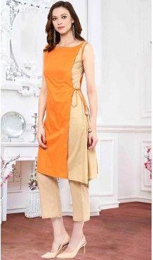 Straight Kurti Orange Color Cotton Thread Work Readymade Kurti | FH462972218