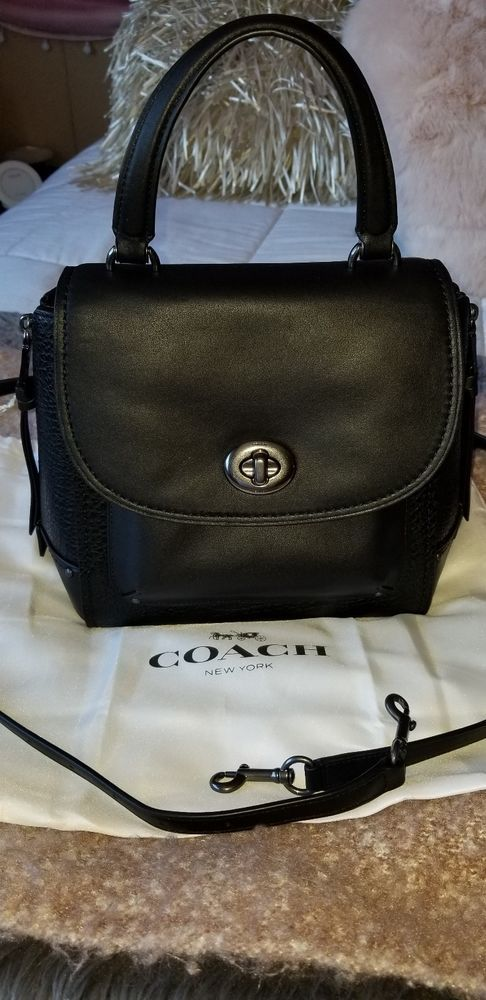824bd4b697 NWT Coach Faye Backpack Leather Suede Shoulder Bag Crossbody Black F30525   450 191202722699
