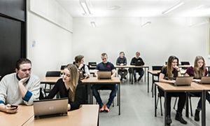 A classroom in Dragonskolan school in Sweden bathed in light