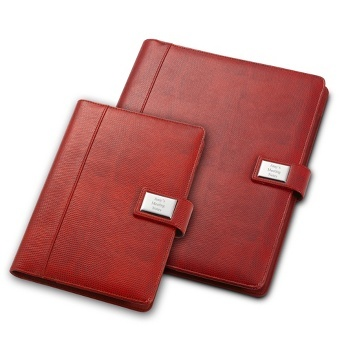 """Red Lizard Padfolio: They had 264 applicants for two internship positions. She was one of the lucky two. Congratulate her on getting that fabulous summer job with this red lizard-textured padfolio engraved with her initials or """"Follow your dreams."""""""