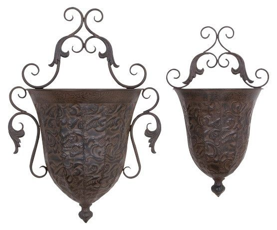 DecMode Metal Wall Planter - Set of 2
