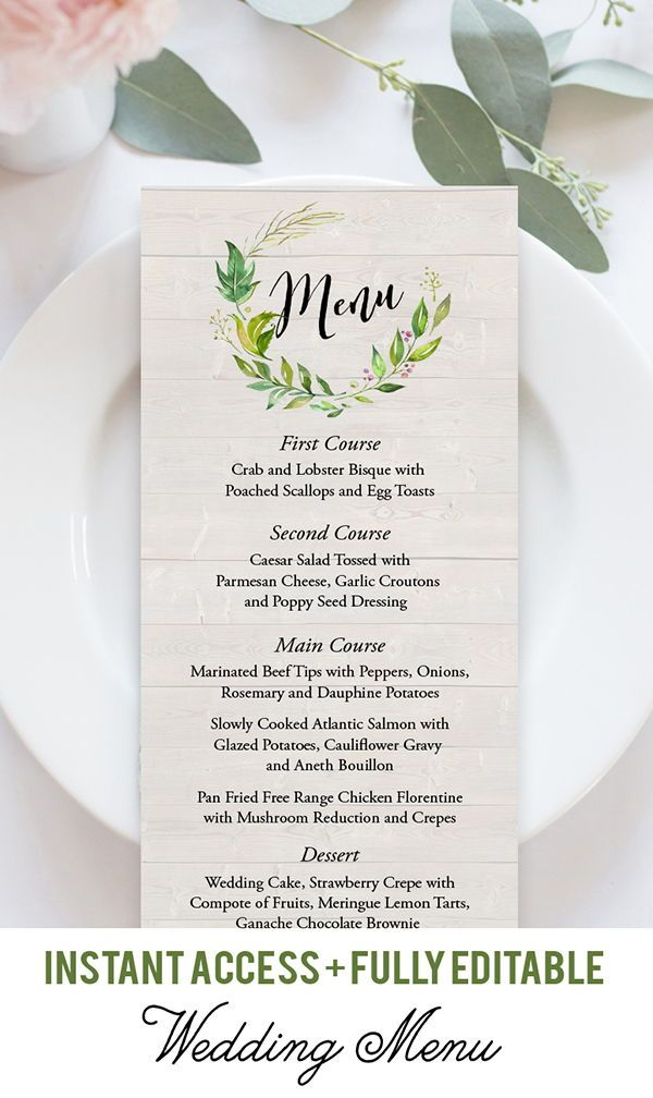 Instant Download Menu Kraft Menu Printable Foliage Menu Etsy Diy Wedding Menu Printable Wedding Menu Wedding Menu