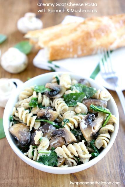 Creamy Goat Cheese Pasta with Spinach & Mushrooms from www.twopeasandthe... #recipe #vegetarian