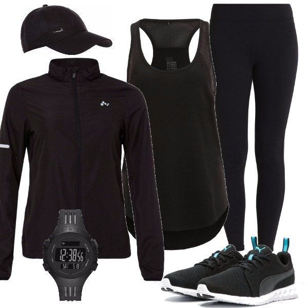 Per chi ama correre, propongo collant con tasca di sicurezza, top traspirante, giacca con colletto alla coreana, scarpe in tessuto, cappellino e orologio.