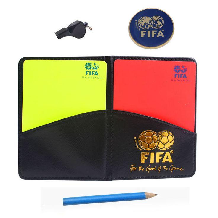 Tarjetas con moneda Marca silbato silbatos árbitro de fútbol tarjeta roja y amarilla tarjeta herramienta de árbitro de Fútbol kit equipo
