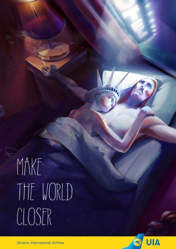 Adv for a UIA airline, Kafe Kiev – « Make the world closer »